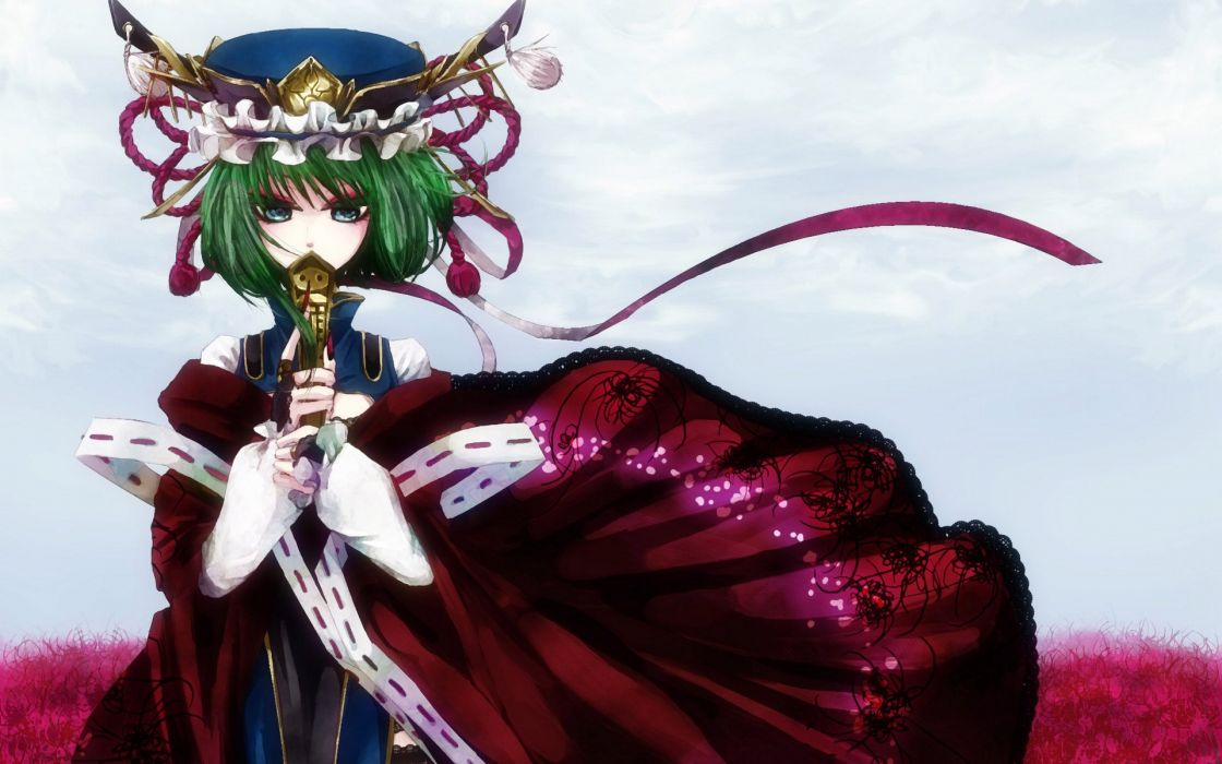 alone anime girl red dress green hair flower wallpaper