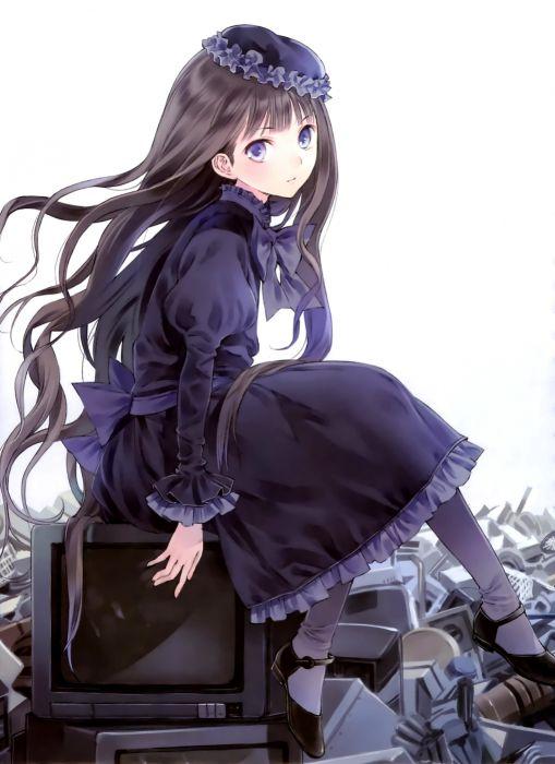anime girl dress long hair look wallpaper