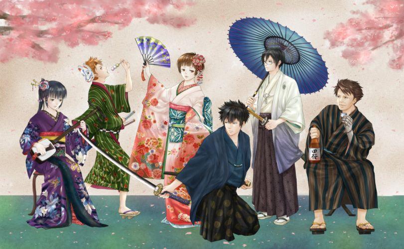 anime series Psycho-Pass characters kimono katana sword girls guy wallpaper