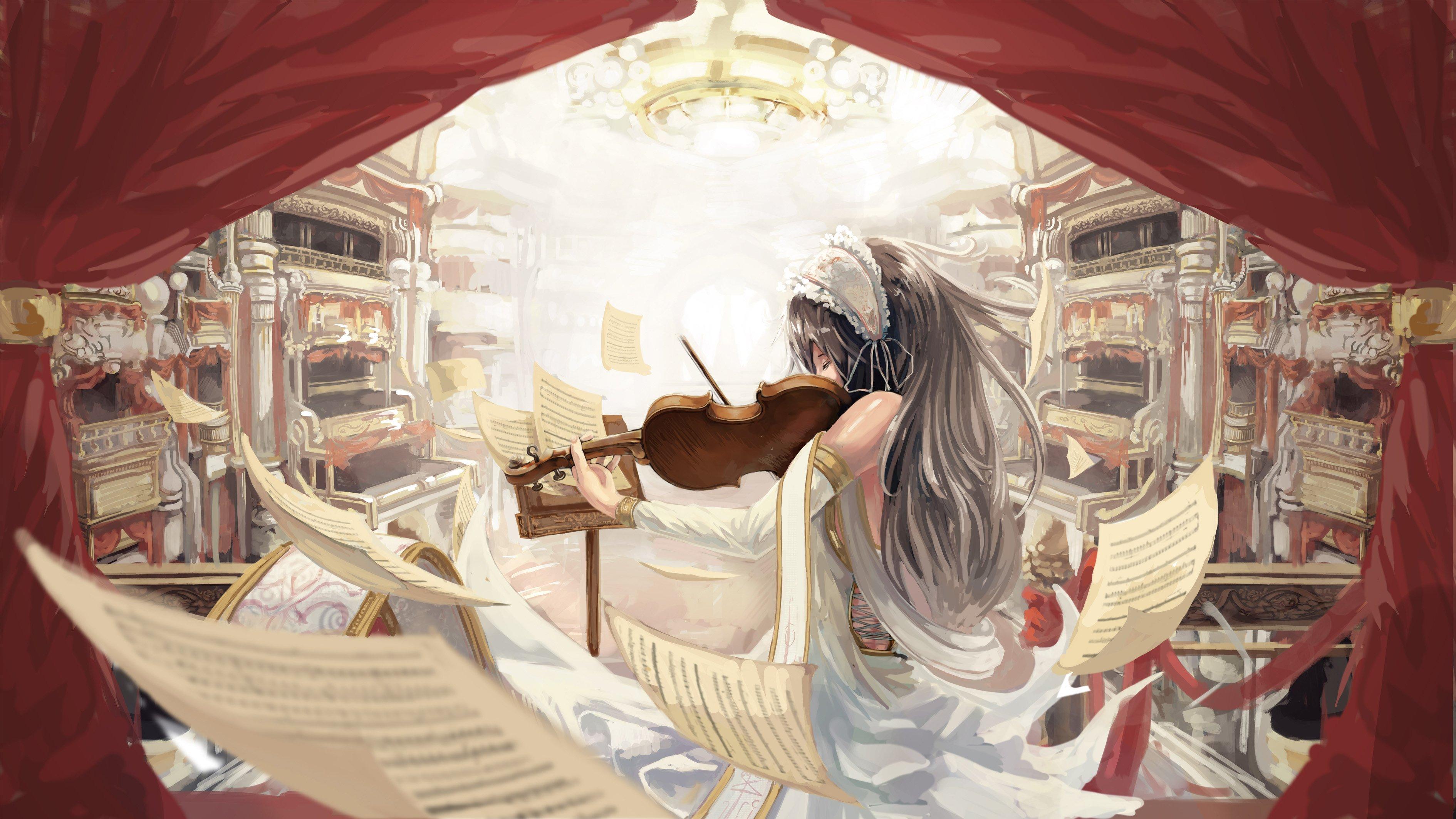 Violin notes music anime girl wallpaper | 3780x2126 ...