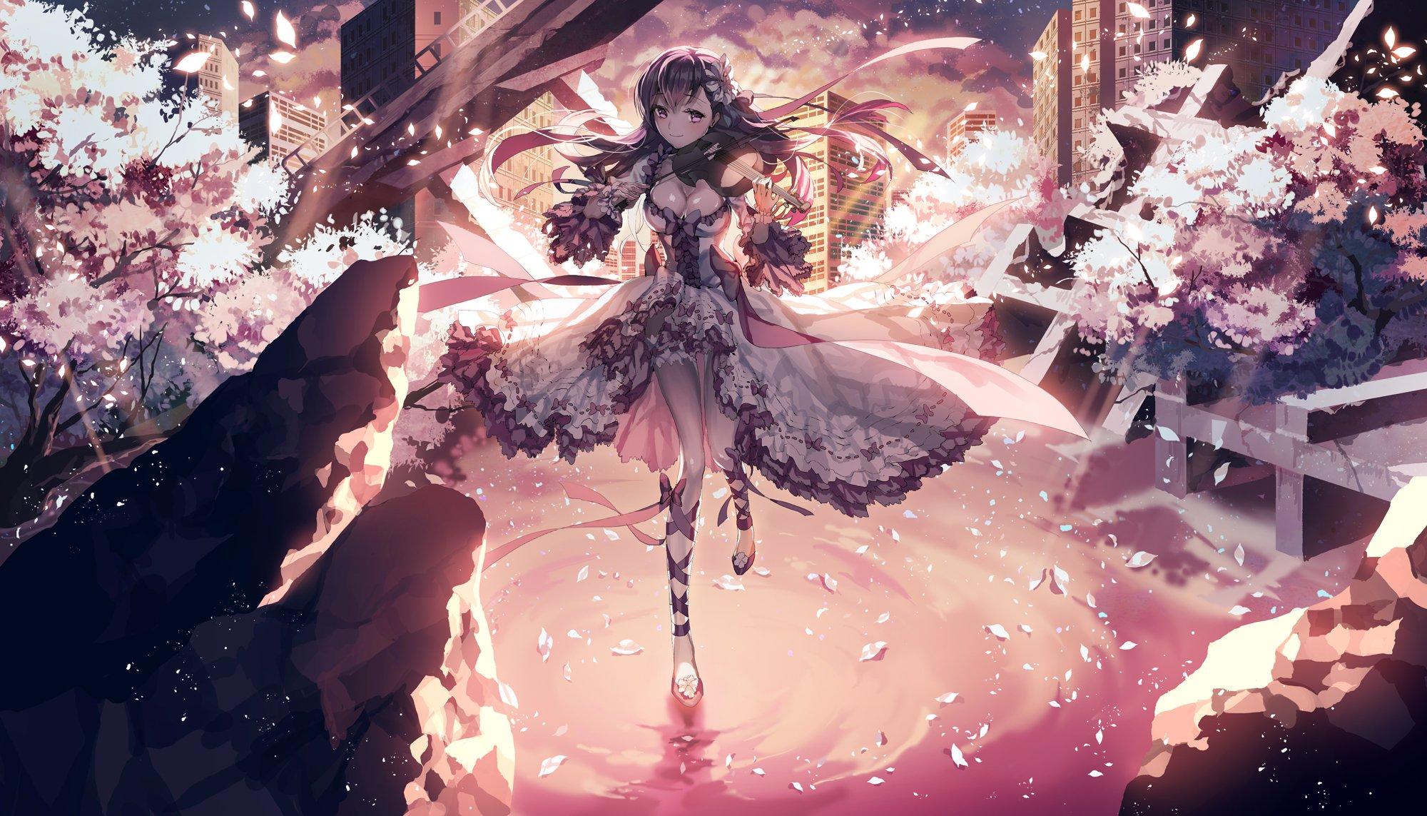 Violin Girl Anime City Flower Sakura Dress Smile Wallpaper