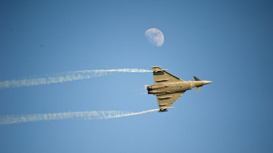 plane jet aircraft moon sky wallpaper