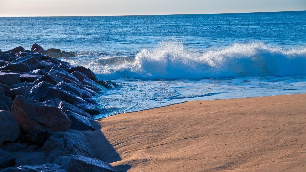 sea beach blue rocks nature wallpaper