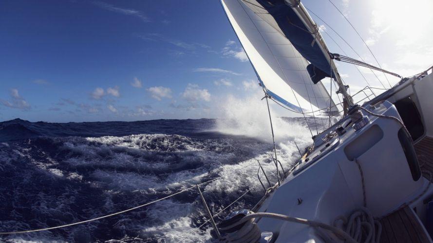 sea watercraft waves boat wallpaper