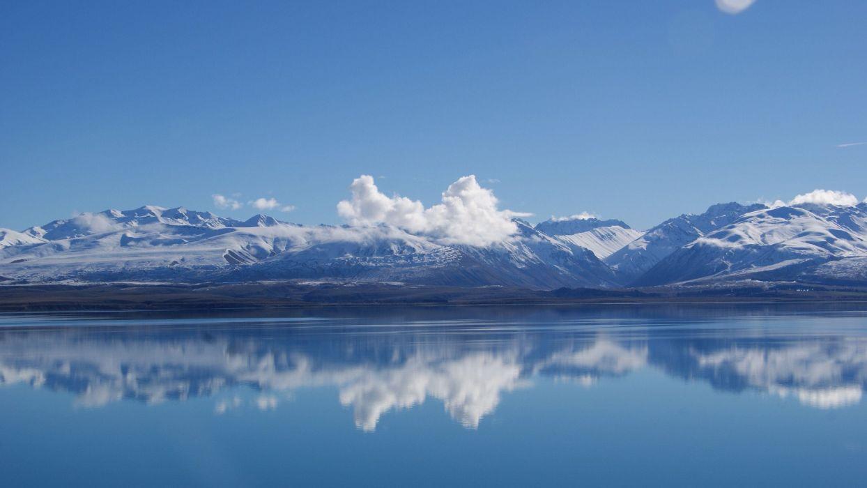 lake mountains clouds sky blue wallpaper