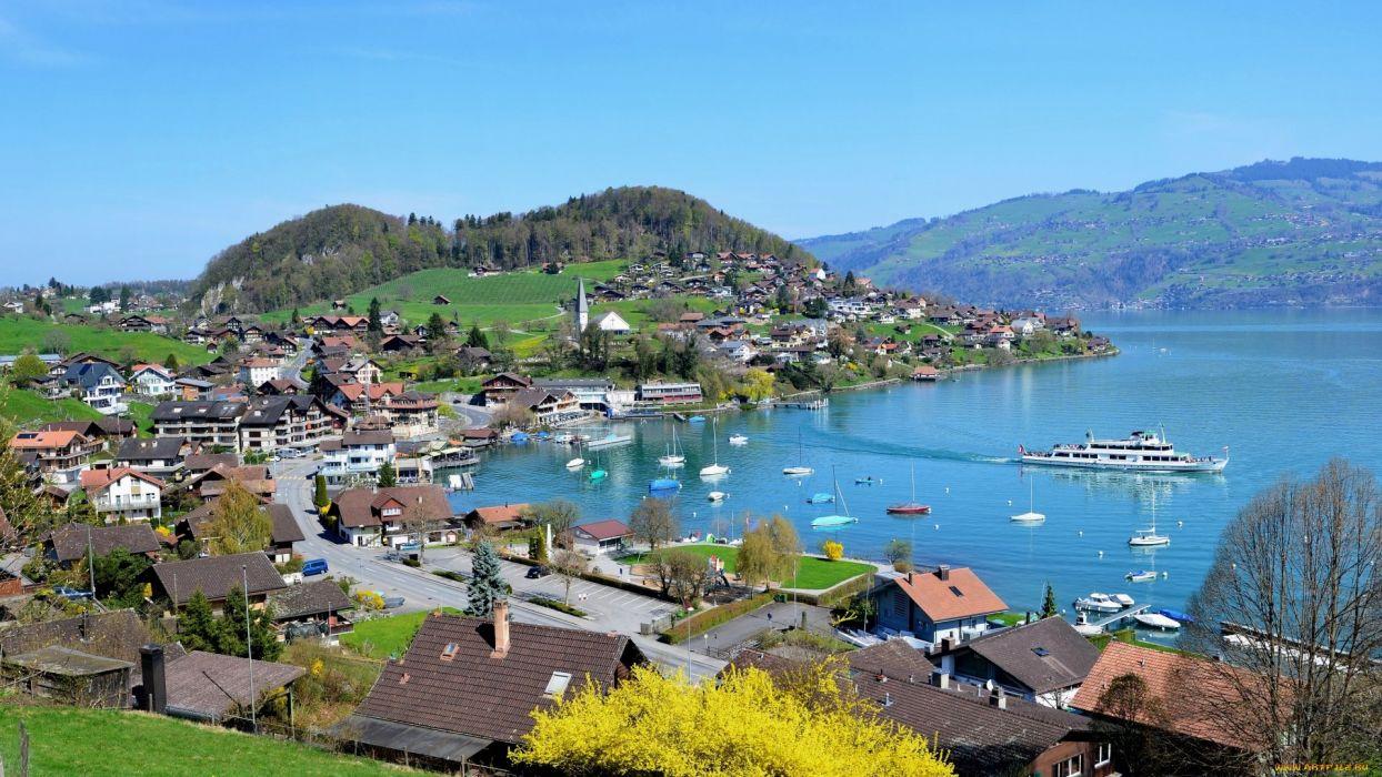 lake town boats landscape wallpaper