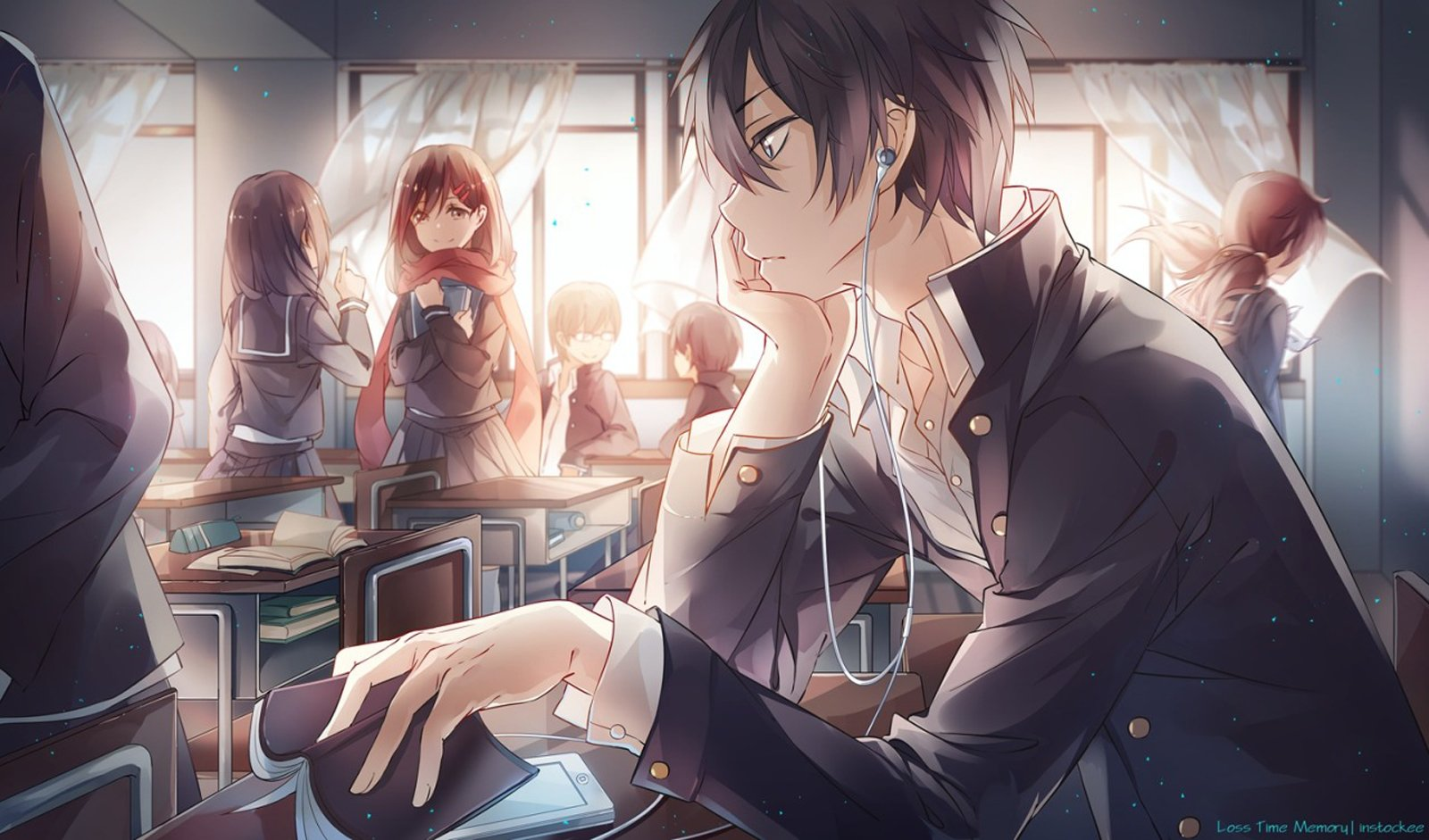School Girl Boy Uniform Listen Music Friend Group Book Class Wallpaper