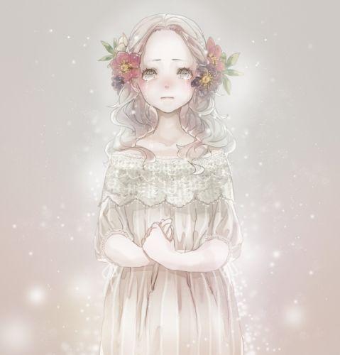 cry girl flower alone bokeh dress wallpaper