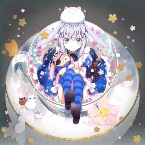 flower rabbit usagi anime girl animal wallpaper