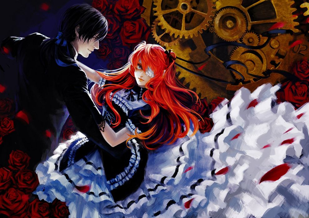 couple dance girl dress red rose petals wallpaper
