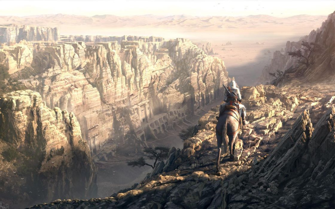canyon horse fantasy sunlight tree wallpaper