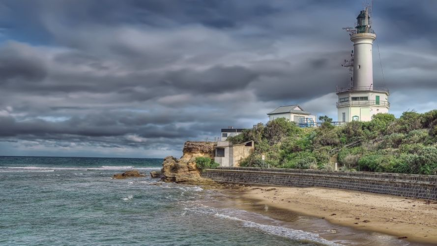 sea clouds sky lighthouse wallpaper