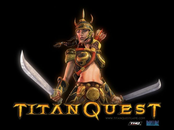 TITAN QUEST fighting action fantasy rpg warrior wallpaper