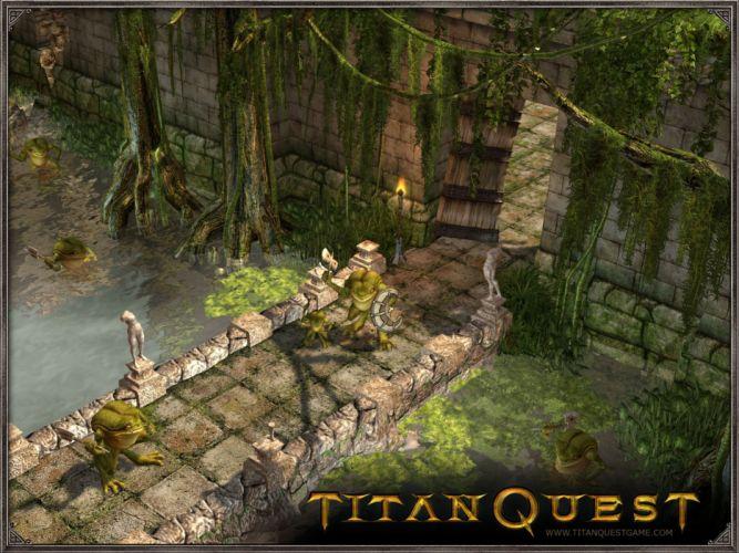 TITAN QUEST fighting action fantasy rpg warrior wallpaper