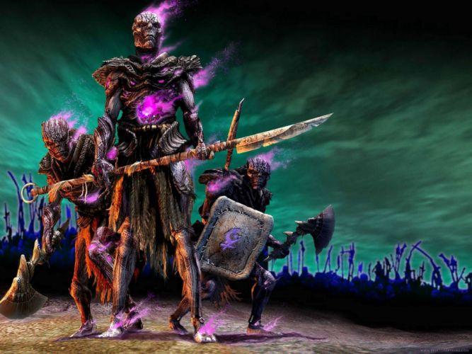 TITAN QUEST fighting action fantasy rpg warrior skeleton skull wallpaper