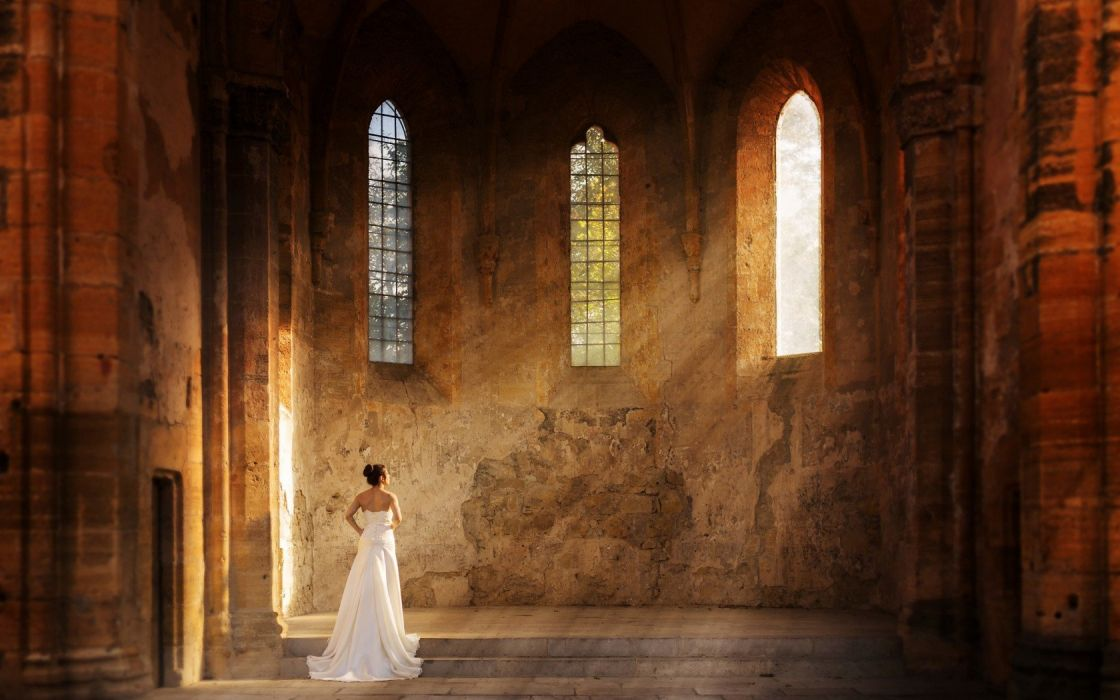 bride chuch wedding dress white beauty attractive wallpaper