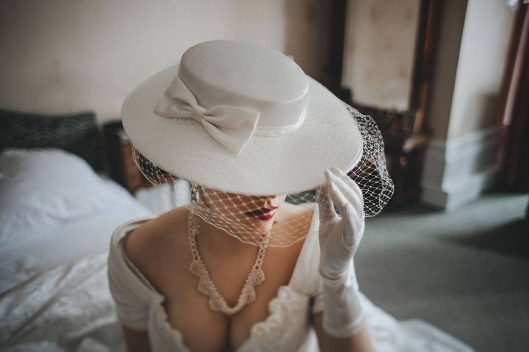 Beauty Lovely Woman White Hat Elegant Attractive Lady