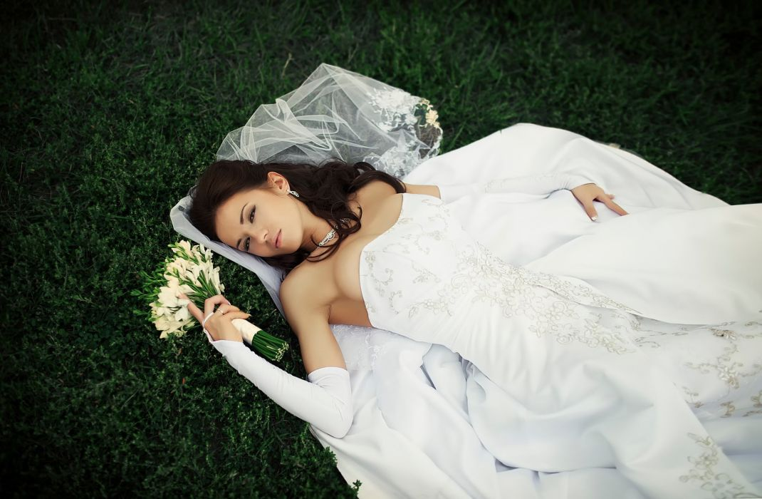 bride dress white wedding love alone wallpaper