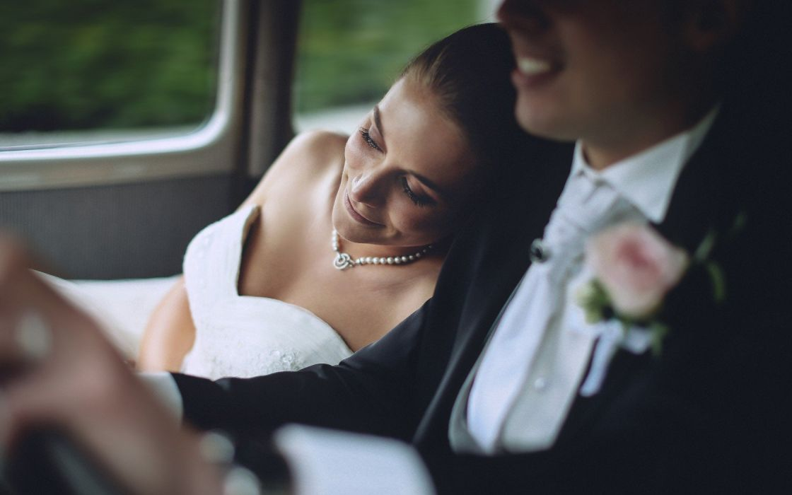 couple dress wedding drive forever happy smile wallpaper