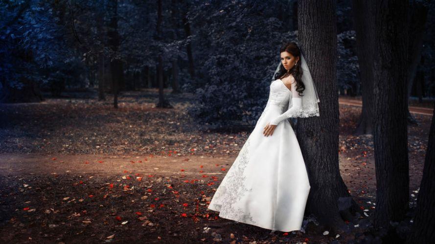 bride dress white wedding doll beauty sweet wallpaper