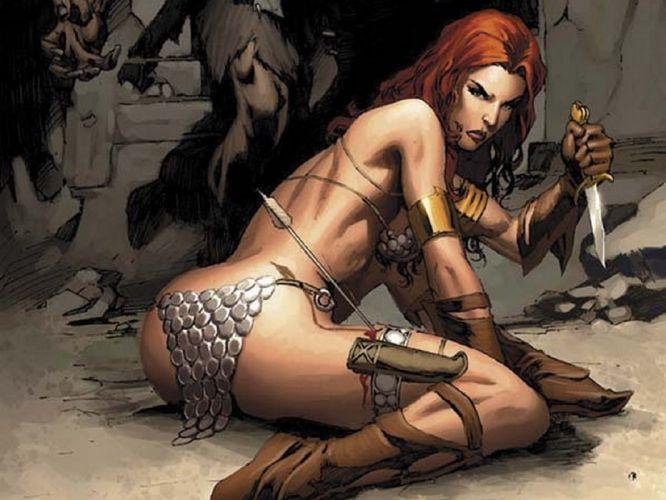 Red Sonja comic character hero sword bow beaury redhead sweet wallpaper