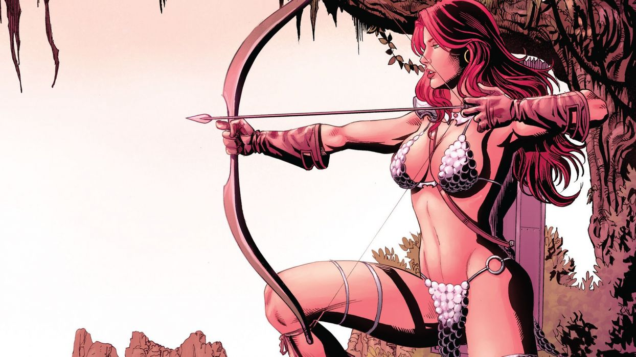 Red Sonja comic character hero sword bow beaury redhead sweet wallpaper