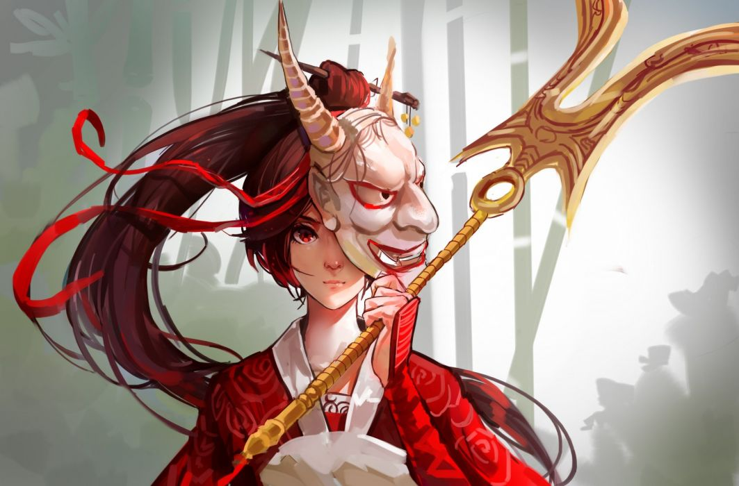akali brown hair japanese clothes league of legends long hair mask mconch ponytail red eyes ribbons weapon wallpaper