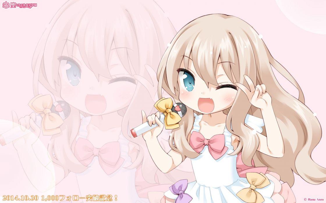 blonde hair blue eyes blush fang jpeg artifacts kawamura reo microphone ribbons sono hanabira ni kuchizuke wo tagme wink zoom layer wallpaper