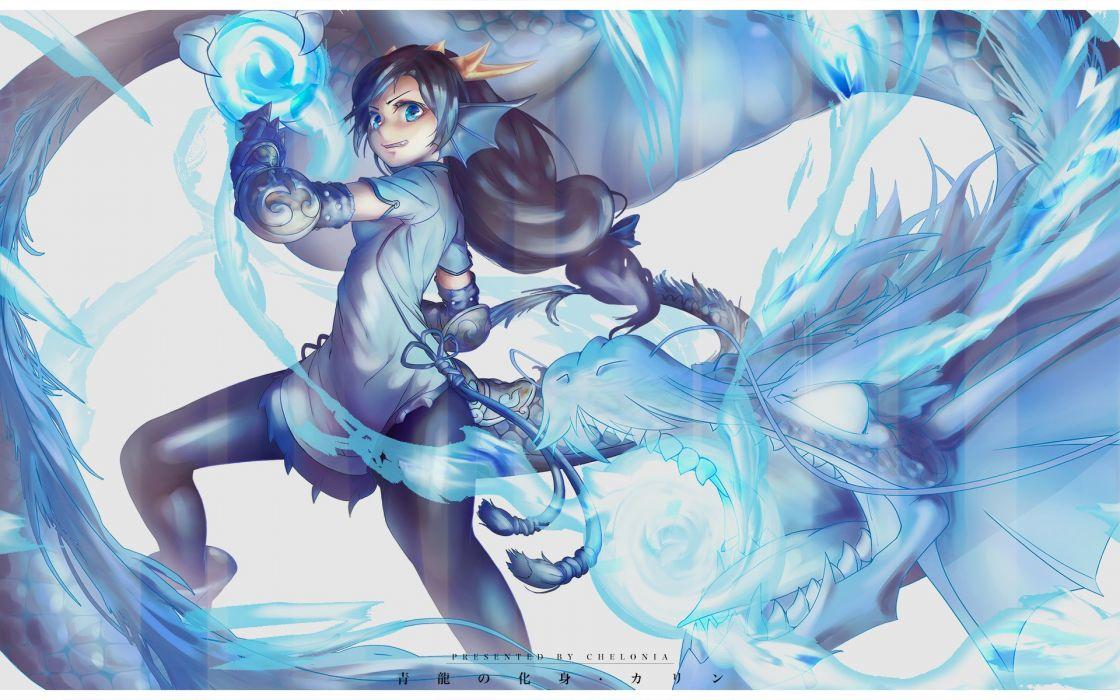 black hair blue eyes chelonia horns karin (p&d) long hair magic pantyhose puzzle & dragons tail watermark wings wallpaper
