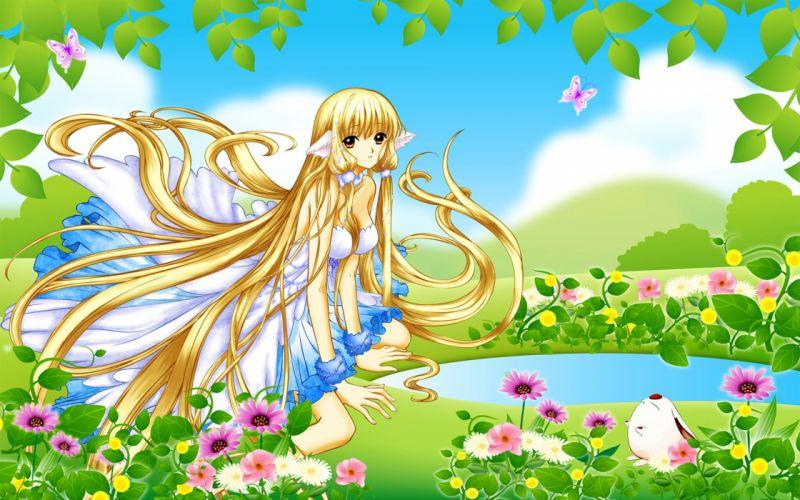 animal ears blonde hair brown eyes butterfly chii dress flowers leaves mokona tsubasa reservoir chronicle wristwear wallpaper