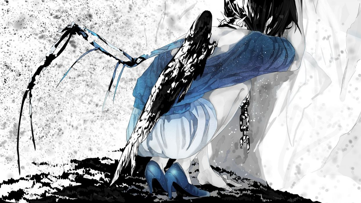 black hair chain collar mizutame tori original shackles shorts wings wallpaper