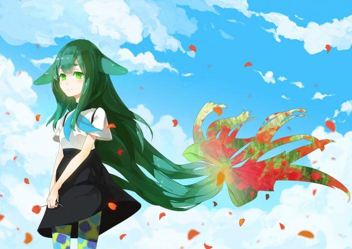 blush bow clouds flowers gatchaman crowds green eyes green hair long hair pantyhose petals ribbons skirt sky tagme (artist) utsu-tsu wallpaper