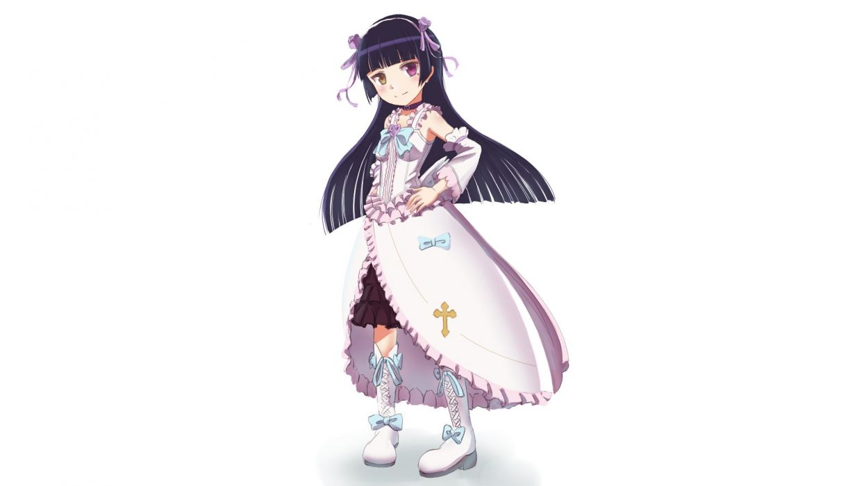 bicolored eyes boots dress flowers gokou ruri headband lolita fashion long hair purple hair ribbons telaform white wallpaper