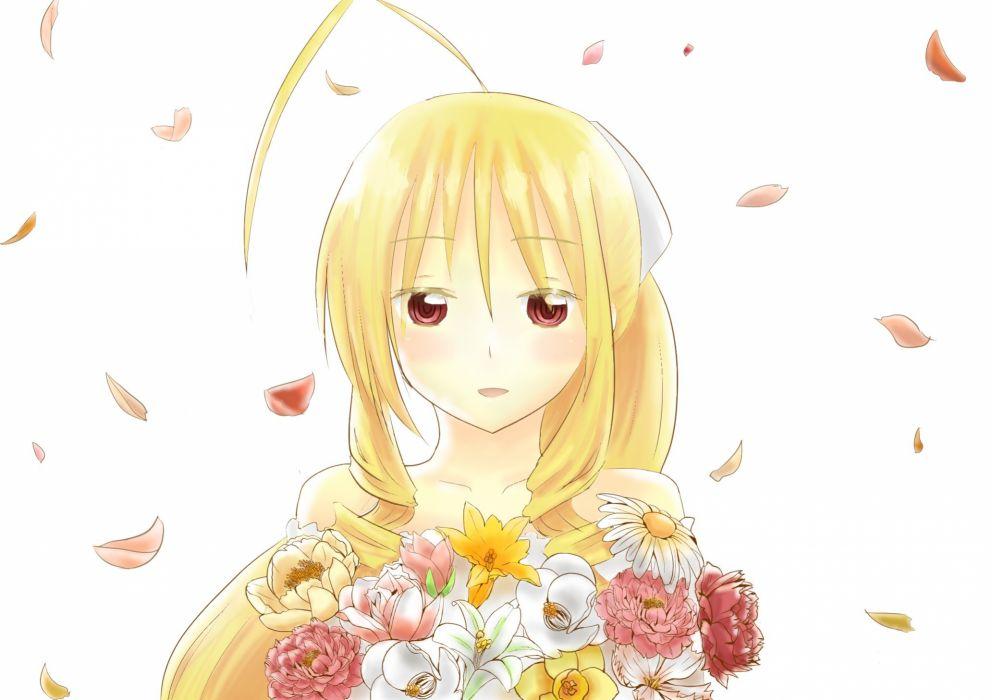 blonde hair flowers hayate no gotoku long hair mizuki n petals red eyes tennos athena white wallpaper