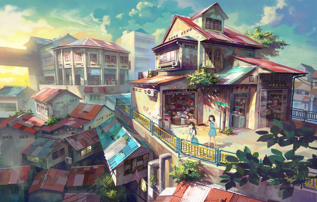 building chong feigiap city landscape original scenic seifuku sunset wallpaper