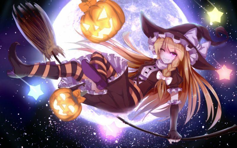 baka no e blonde hair blue eyes bow braids dress elbow gloves halloween hat kirisame marisa moon pumpkin thighhighs touhou wink witch witch hat wallpaper