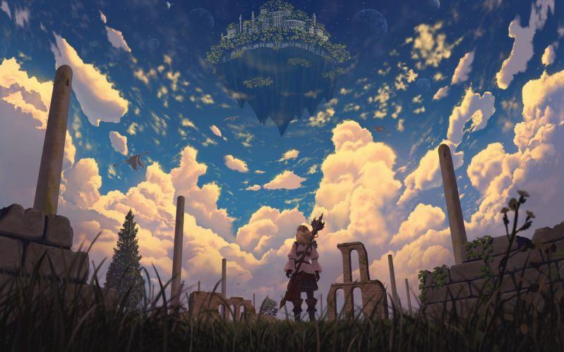 blonde hair clouds dragon grass long hair nauimusuka original ruins scenic sky weapon wallpaper