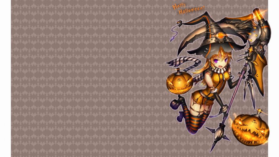 blonde hair elbow gloves fang gia halloween hat long hair original photoshop purple eyes scarf scythe thighhighs weapon witch hat wallpaper