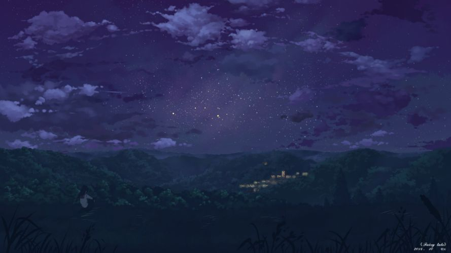 clouds landscape long hair night original scenic seifuku sky stars yuuko-san wallpaper