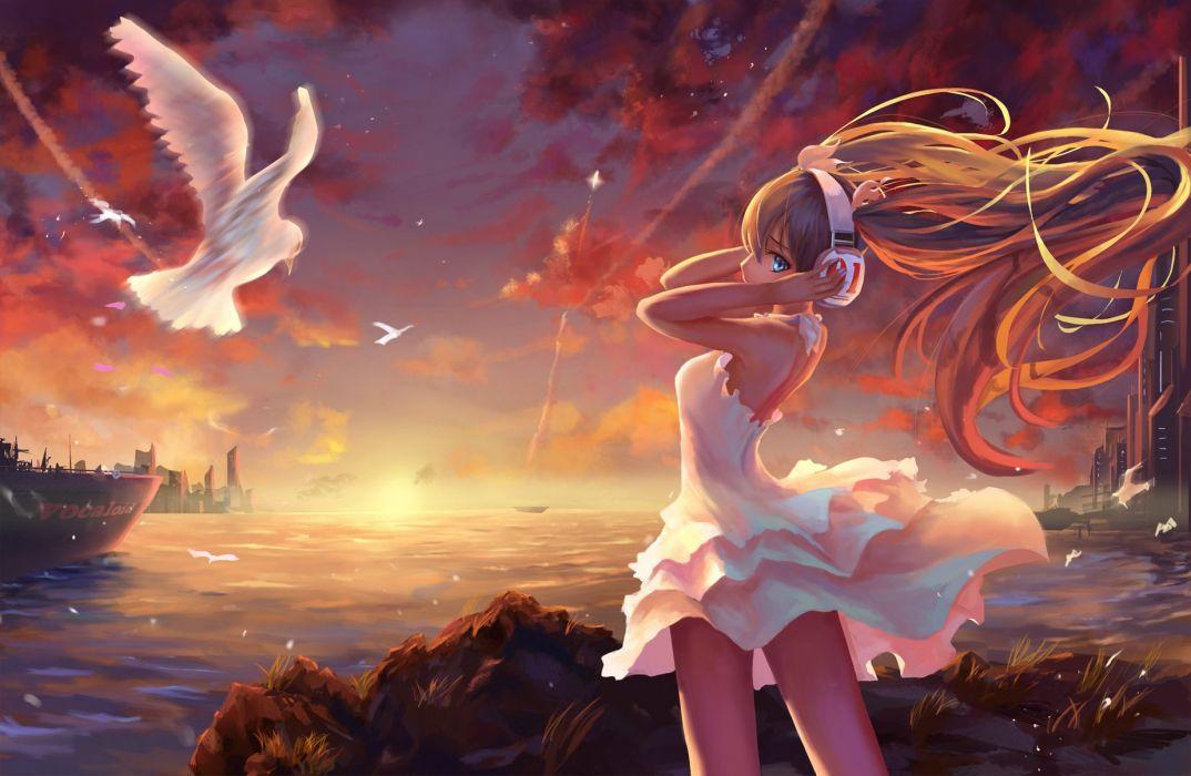 animal bird blue eyes clouds dress hatsune miku headphones long hair neko-mura ikkro sky sunset vocaloid water wallpaper
