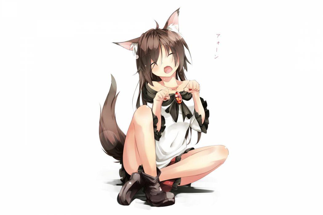 animal ears blush boots fang gorilla (bun0615) imaizumi kagerou long hair skirt tail touhou white wolfgirl wallpaper