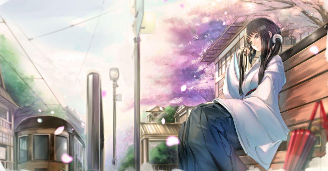 black eyes black hair cherry blossoms japanese clothes kikivi long hair original petals train tree umbrella wallpaper