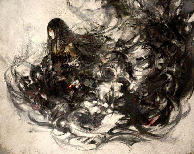 black hair long hair original yasai seikatsu wallpaper