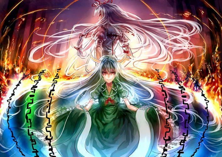 girls bow dress ex keine fujiwara no mokou horns kamishirasawa keine long hair red eyes touhou uu uu zan white hair wallpaper
