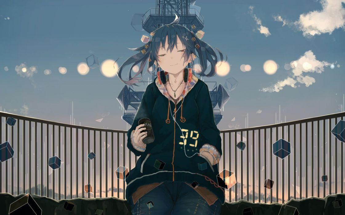 blue hair brown eyes clouds drink hatsune miku headphones necklace short hair sky twintails vocaloid yuu-rin wallpaper