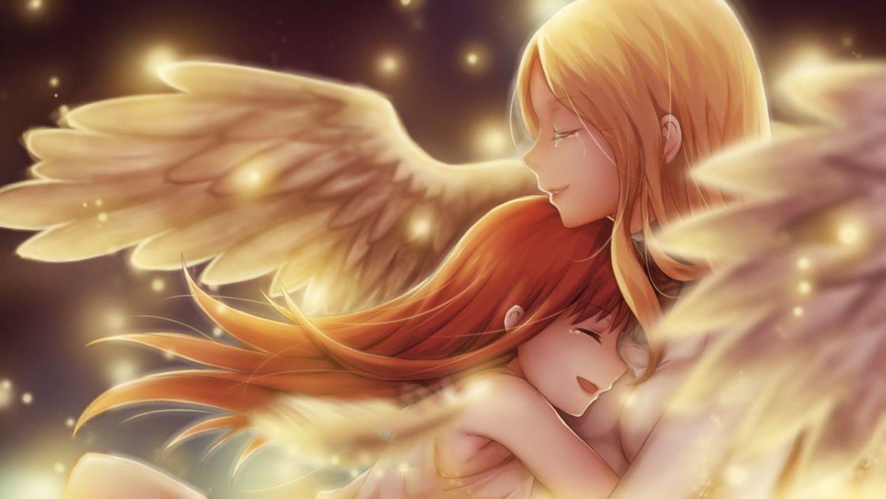 girls blonde hair clare claymore hug leikangmin long hair red hair tears teresa wings wallpaper