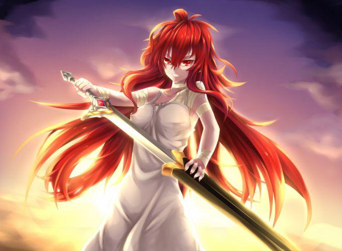 bandage elesis (elsword) elsword fi-san long hair red eyes red hair sword weapon wallpaper