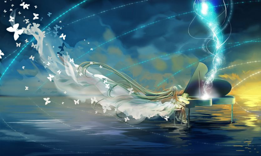 aqua hair butterfly dress hatsune miku instrument long hair miemia piano twintails vocaloid water wallpaper