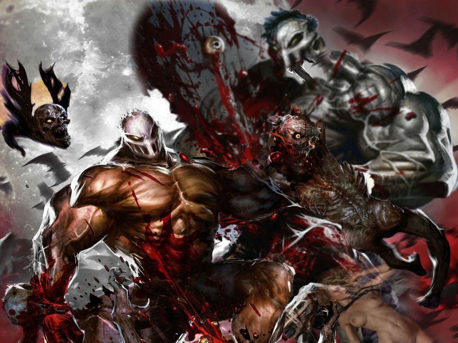 SPLATTERHOUSE horror slasher fighting fantasy arcade dark wallpaper