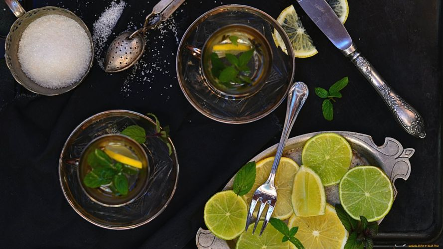 tea drink lemon wallpaper